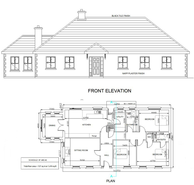 You get 8 copies of the house plan with specification