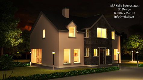 MF Kelly 3D House Front View Night